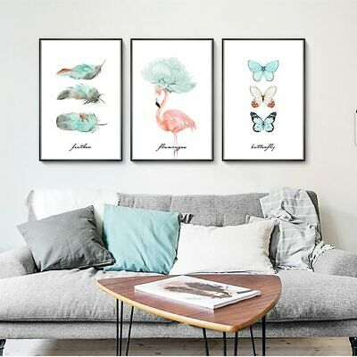 Nordic Modern HD Prints Home Decor Butterfly Painting Wall Art Canvas Flamingos
