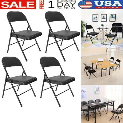 Office Chairs,Home Backrest Folding Chairs  With Metal Frame 4 Set Black USA