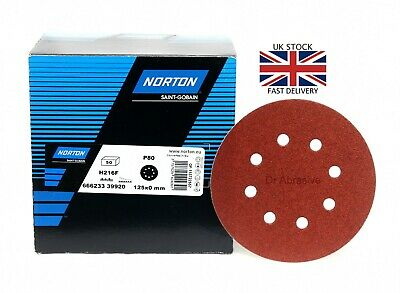 "125mm 5"" Sanding Discs Pads 8 Hole Orbital Sandpaper NORTON Hook and Loop 40-240"