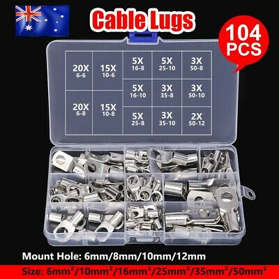 104× Copper Lug Cable Lugs Kit 6mm 10mm 16mm 25mm 35mm 50mm Battery Terminal 4WD
