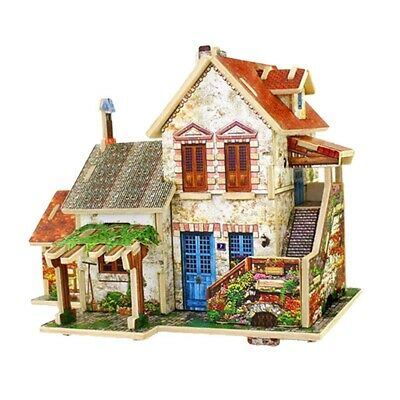 DIY Dolls House Kit Wooden Miniature with Furniture French Villa Apartment