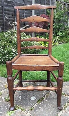 Old Antique Mid Victorian Handmade Rustic Country Oak Ladder Back Dining Chair
