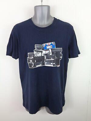 Mens Reebok Navy Blue Graphic Logo Short Sleeved Crew Neck T Shirt Top L Large