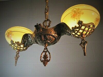 Chandelier Silp Shade Art Nouveau Antique Original Gill Glass  Restored 2 Light