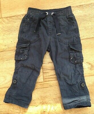 George Baby Boys 12-18 Months Cargo Pants Trousers Navy Blue Length Adjustable