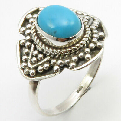 925 Pure Sterling Silver Turquoise Ancient Style Ring Size 9 4.8 Grams