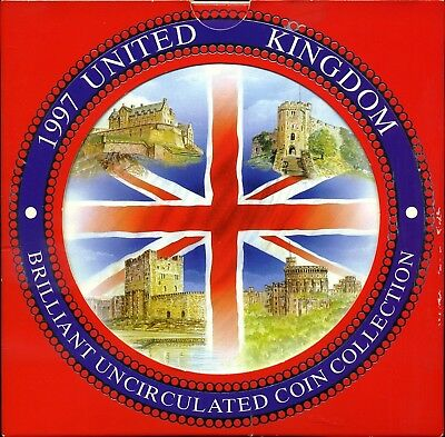 1997 United Kingdom Brilliant Uncirculated Coin Collection 9 Coins 1p to 2 Pound