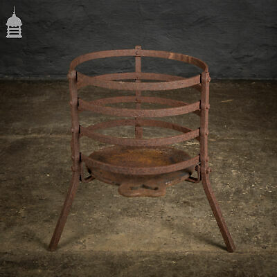 Round 18th C Wrought Iron Fire Basket with Bakers Plate