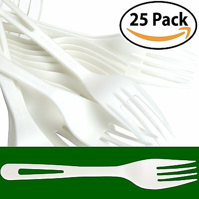 Biodegradable Forks Made From Non-GMO Plant-Based Plastic 50 Pack. Sturdy...