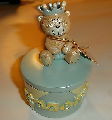 Regency Baby Days Teddy Bear Prince Blue Trinket Gift Pot 11 cm FreePost UK