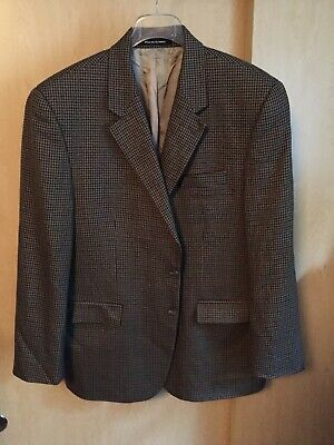 Ralph Lauren Men's Sz 46R Tweed Coat Jacket Brown Houndstooth Blazer EUC!