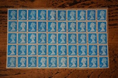 100 X 2Nd Class Blue Unfranked Stamps Peel & Stick Off Paper With Gum
