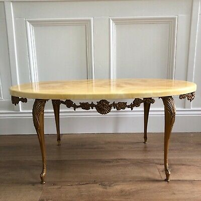 renaissance rococo baroque style marble effect coffee table with brass legs