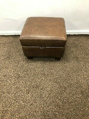 Sofology Maltby Storage Footstool Splendor Tan Leather Rrp £399.99