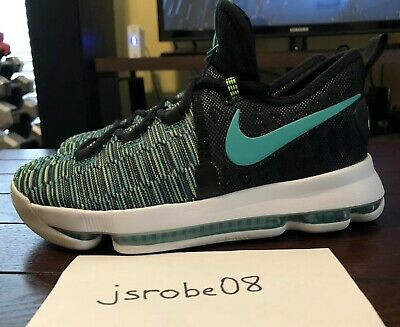 sale retailer 0d94d 3d8a4 NIKE ZOOM KD9 (GS) 5Y BLACK CLEAR JADE 855908 300 Basketball Shoes Kevin