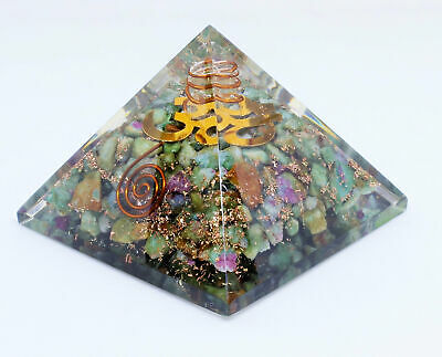Extra Large 70-75 MM Orgonite Pyramid With Copper OM Symbol Powerful Healing
