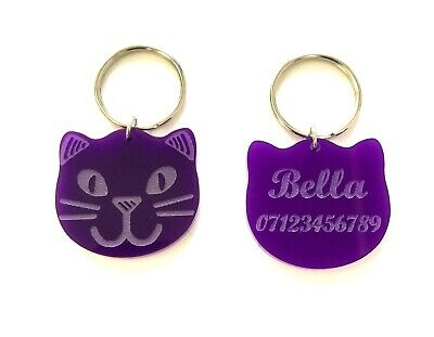 Personalised Engraved Cat Pet ID Tags Cat Face in Purple