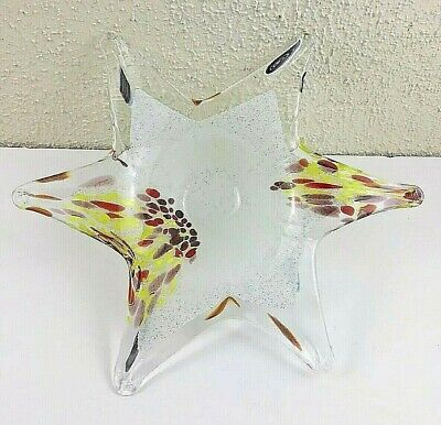 Vintage Hand-Blown Murano Glass Art Star-Shaped Center Dish Made in Italy @@