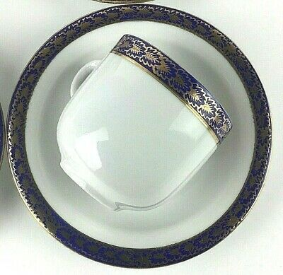 Set Of 4 Vintage Exquisite Walbrzych Fine China Tea Coffee Cup Blue Gold Rare @@