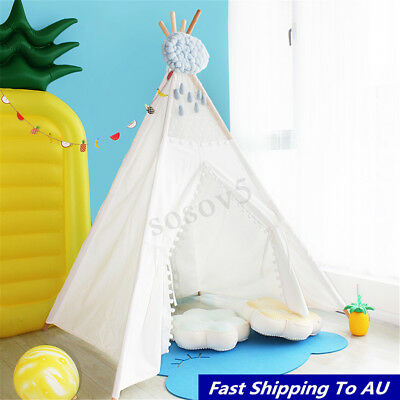 110*110*150cm White Canvas Kids Teepee Pretend Play Tents Children Home Outdoor