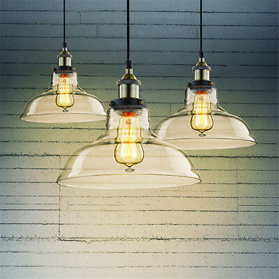 E27 Retro Industrial Globe Loft Cafe Glass Ceiling Pendant Light Lamp Chandelier