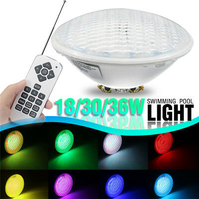 18/30/36W Par 56 RGB Led Underwater Swimming Pool Spa Light Lamp +Romete