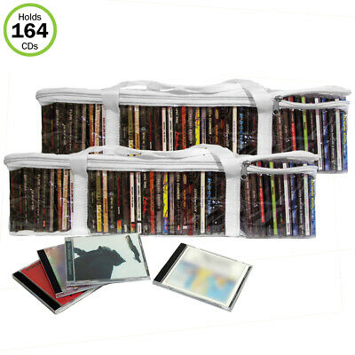 Evelots CD Music Storage Clear Bags,Easy To Carry, Holds 164 CD's Total,Set/4