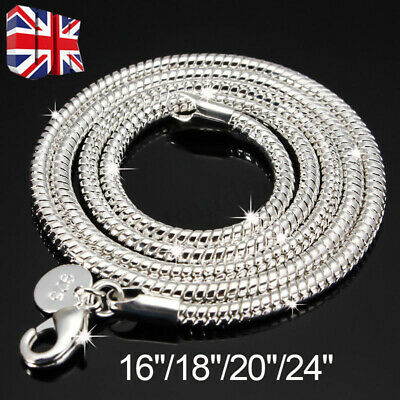 925 Silver Sterling 3mm Solid Snake Chain 16 20 24 Inch Necklace Pendant 3mm UK