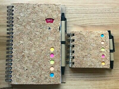 2 Notepads with Cork Cover, Flag It Notes, Pen & Day Dial - Brand New, Sealed