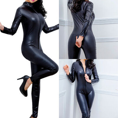 Women Lingerie Faux Leather Bodysuit Black Catsuit Jumpsuit Clubwear Costume AU