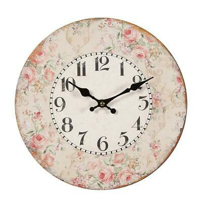 Wall Clock with Rose Blossoms Rim, Romantic Country House Roses Watch 28 CM