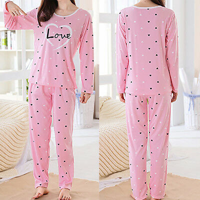 Women Pajamas Sets Winter Long Sleeve Thin Cartoon Print Cute Loose Sleepwear AU