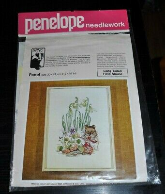 """Vintage1970's Penelope Needlework Kit for SPNC """"Long Tailed Field Mouse"""" 12x16"""""""