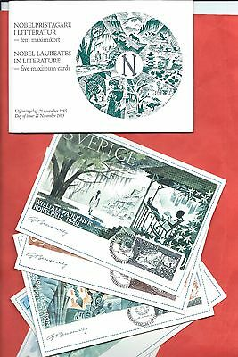 Sweden stamps.1985 Nobel Prize for Literature Maxi Cards Maximum cards set (Y882