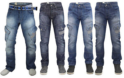 Crosshatch Uomo Sabbiati Jeans Bottoni Fly Regular Cargo Tasche Jeans