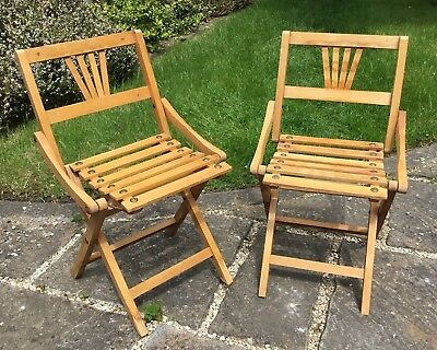 Pair Of Vintage 1930/40s Midcentury Wooden Childs Childrens Collapsable Chairs