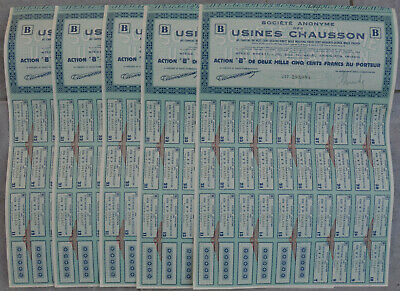 lot de 5 actions 2500 francs USINES CHAUSSON automobile autobus car camion
