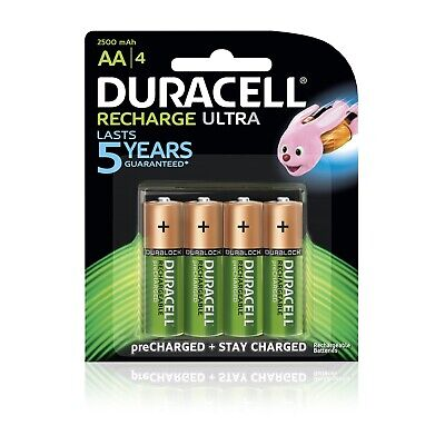 4 Duracell AA Double A 2500mAh Rechargeable Batteries Brand New Free Postage