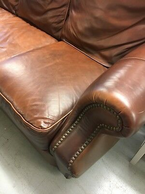 Vintage Brown Leather Chesterfield Sofa,Large 3 Seater Sofa,Kent Furniture