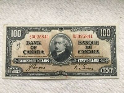 1937 BANK OF CANADA 100 DOLLAR BILL-Coyne/Towers