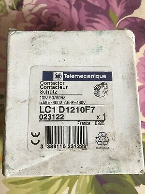 LC1 D1210F7 25 Amp Telemecanique Contactor 110Volt Coil New Unused. And Boxed