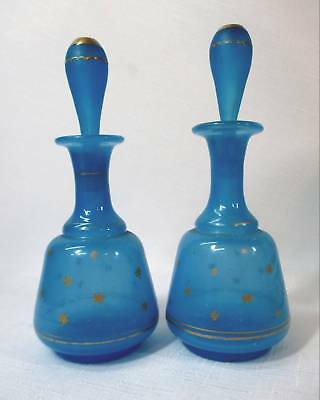 Pair Of French Art Glass Perfumes Stoppered Bottles - Royal Blue W/ Gold