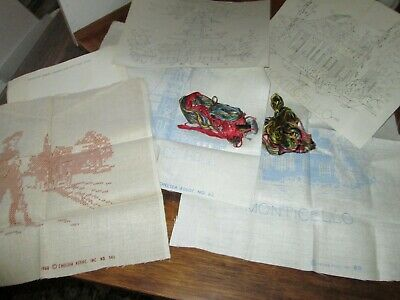 Vintage Lot of 3 Stamped Samplers~Historical Themes