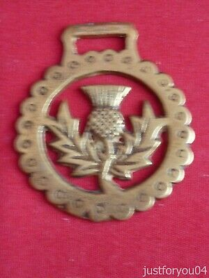 Vintage Horse Brass Scottish Thistle with Leaves Miniature Pony Size.