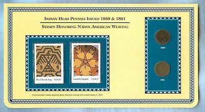 1880 & 1881 INDIAN PENNIES WITH 37c MINT STAMPS HONORING NATIVE AMERICAN WEAVING