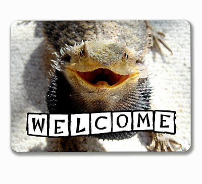 Bearded dragon sign reptile welcome hanging or fixed aluminium metal