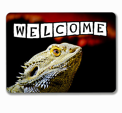 Bearded dragon welcome sign reptile hanging or fixed aluminium metal