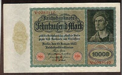 "German Reichsbanknote 10000 Marks 1922 Red Seal ""D"" Overprint"