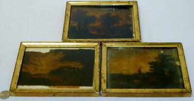 RARE 19th Century Lot of 3 Mica Reverse Painted Folk Art Paintings FRAMED 5 x 7