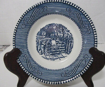 Vintage Royal China Currier and Ives Dessert Berry Bowls Old Farm Gate Set of 6